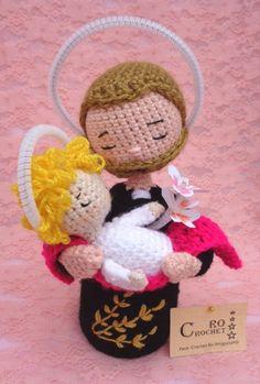 Patrono del pan y del trabajo. Holi, Nativity, Teddy Bear, Animals, Saints, Crochet Animal Amigurumi, Yarns, Feltro, Japanese Art