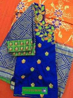 Ikat pattu langa with blouse maggam work 7702919644
