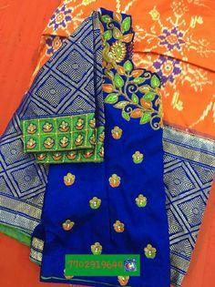 Ikat pattu langa with blouse maggam work 7702919644