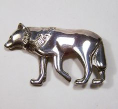 Vintage Sterling Silver Wolf Dog Pin Figural by GretelsTreasures