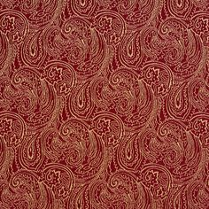 Burgundy or Red or Rust and Gold or Yellow color Abstract or Geometric and Paisley pattern Damask or Jacquard and Fade Resistant type Upholstery Fabric called CRIMSON or PAISLEY by KOVI Fabrics Fabric Ottoman, Chenille Fabric, Ikat Fabric, Brocade Fabric, Drapery Fabric, Red Fabric, Chair Fabric, Paisley Color, Paisley Fabric