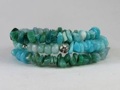 Amazonite - the Hope Stone, Memory Wire Bracelet #bc148 by CycleofLifeDesign on Etsy