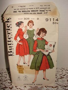 http://www.ebay.com/itm/Vintage-50s-Butterick-Jumper-Dress-Pattern-9114-Junior-Teen-Size-9-Bust-30-5-/400973246857?hash=item5d5bde3189