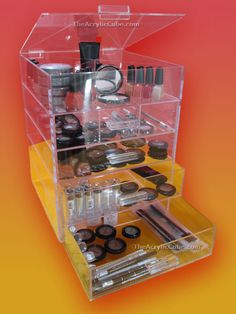 Acrylic Clear Cube Cosmetic Makeup Organizer 4 Drawers + 1 Top Lid Compartment - Makeup Organizers, Caddies  I WANT