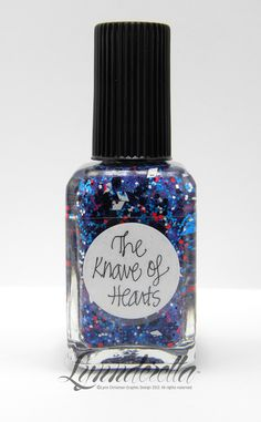 The Knave of Hearts gets its navy-ness from a combination of strong blue-violet shimmer over black glitter. Also features neon blue, almost neon red and white glitters in a clear base.