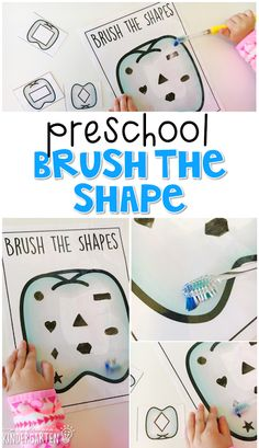 This brush the shape game is a super fun way to practice shapes and fine motor skills with a healthy habits theme. Great for tot school, preschool, or even kindergarten!