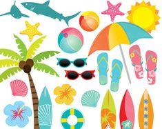 Hawaii Surf Clipart, Summer Beach Clip Art, Surfboards, Palmtree, Shells, Hibiscus, Sharks. Hawaii Surf Clip art. Orange, Green, Blue