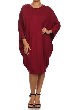 Pastel by Vivienne Women's Side Draped Dolman Sleeves Plus Dress >>> Hurry! Check out this great product : Plus size fashion