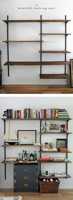 SHELVING. Rustic shelving can be made using the plumber's piping like in Bryan's room. Can custom make this to surround Tyler's TV and have a gaming media center that can also serve as a catwalk.