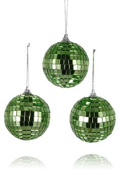 2 3/4in Light Green Disco Ball Christmas Tree Ornament Holiday Party