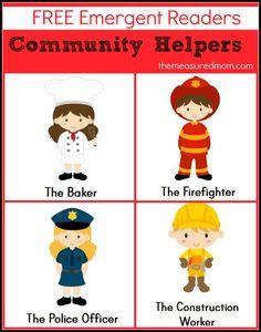 Are you teaching about community helpers in preschool or kindergarten?  Print these free community helpers emergent readers!
