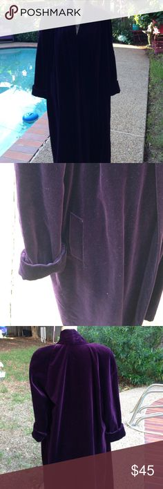 """Coat Beautiful deep plum colored velveteen look coat! Full length on me, but I'm 5' 2"""". Label says 100% cotton, but looks like velveteen. Not sure if there is a cotton velveteen! Anyway, it's beautiful, and looks like something from the 40's. Warm, but not heavy, and in excellent condition. The could be described as eggplant. Perfect match for dressy or casual!! Collections Jackets & Coats"""