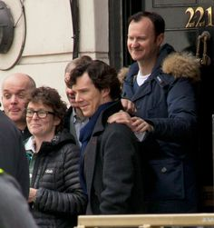 "(Ahahahahaha! Look at Martin going ""NO. My hand on his shoulder. Go away, Mycroft. You're mean to Sherlock."")"