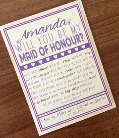 Will you be my Maid of Honour Card. The card is printed on 300gsm ivory card and created in shades of purple. Price: £1.10 per card plus p&p.  These cute cards are a great way to ask your friends or family members to be part of your special day.