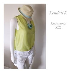 (Sz 4) Kendall K 100% Silk Sleeveless Lime Blouse Size 4 Kendall K bold lime blouse. Sleeveless, and 100% silk, this blouse is perfect for summer and can easily transition into the fall. Buttoned tabs on shoulder seams, and a pocket on the left side, with button. Hand wash in warm water, or dry clean, laying flat to dry. 20% SALE from $35 to $28. Kendall K. Tops Blouses