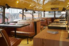 Havwoods at Clerkenwell Design Week 2015 Bus Restaurant, Exhibitions, Vehicle, Table Settings, Cool Stuff, Design, Cool Things, Table Top Decorations, Place Settings