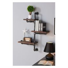 """Orton Industrial Pine Wood Floating Wall Shelf 30"""" in Gray and Walnut Finish - Armen Living : Target"""
