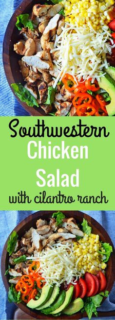 Southwestern Chicken Salad with Cilantro Ranch dressing. Marinated and grilled chicken, fresh sliced avocado, tomatoes, peppers, roasted corn, and pepper jack cheese all on a bed of romaine lettuce. www.modernhoney.com