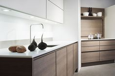 one way design - contemporary kitchens - creating what's next in kitchens, homes & interiors Living Room And Kitchen Design, Kitchen And Bath, Fancy Kitchens, Home Kitchens, Kitchen Furniture, Kitchen Interior, Voxtorp Ikea, Walnut Kitchen Cabinets, Oak Cabinets