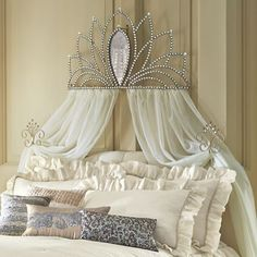 Bed Crown with Tie-Backs from Midnight Velvet.  A shapely mirror and faceted beads bedeck this bed crown and tie backs. Drape with your own sheers for elegant effect.