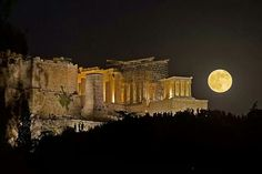Acropolis, Athens, basking in the glory of the full August moon.