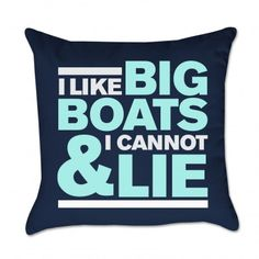 I like Big Boats & I Cannot Lie Outdoor Pillow - Navy & Light Blue- Project Cottage