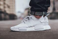 "On Foot: adidas NMD_R1 PRIMEKNIT ""Triple White"""