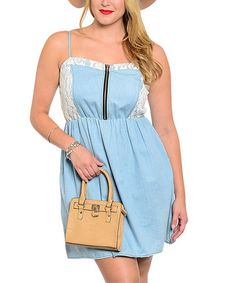 Look what I found on #zulily! Blue Lace-Panel Fit & Flare Dress - Plus #zulilyfinds
