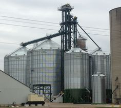 Getting ready to hoist last Sukup hopper bin into place at this commercial facility. Built by Devolder Farms