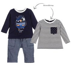 Sweet little outfit by Catimini for baby boys. The reversible, long-sleeved top is made with soft cotton jersey with a print of a cute owl and the words 'Fish & Ships' and the designer's name printed underneath. The reversed, white and navy blue side has a chest pocket in contrasting pattern.  It has poorer fastening at the back to help with dressing. The trousers are made with cotton fabric and are fully lined in soft cotton jersey so they are soft against baby's skin. They have two front…