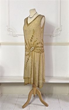 1920's cotton beaded flapper dress with beautiful gold beaded flower detail - available in store and on etsy shop!