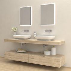 Mobili bagno - Composizione Hola - Mobile lavabo completo. Il kit comprende mensola lavabo, reggimensole, cassettoni e pensili e lavabi, nelle varie forme e finiture proposte, o combinazioni di quest'ultime.