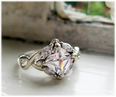 Vintage Silver Engagement Ring Princess Cut with 4 Marquise Stones 1960s.