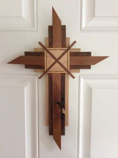 Handcrafted Wooden Cross With Unique Natural Features Making This Truly One Of A Kind