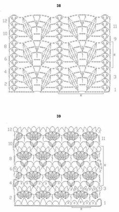 Corchet lace ground stitches: Nr 38, shell columns and leaves; Nr 39, clusters, V's and shells; charts only