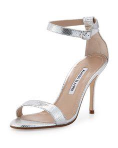Chaos Metallic Ankle-Wrap Sandal, Silver by Manolo Blahnik at Bergdorf Goodman.