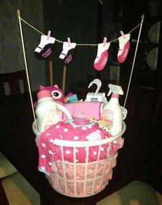 Basket  full of laundry  items. For shower .