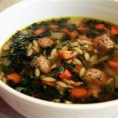 Italian wedding soup.  Edit:  browned meatballs before putting in soup.  Sauteed onion, carrot and celery for mirepoix.  Cooked 3/4 cup orzo separately.  With those changes it was great.  (Used collards cuz only greens on hand)