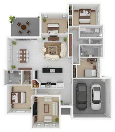 Marvelous 3D Floor Plans Modern Floor Plan