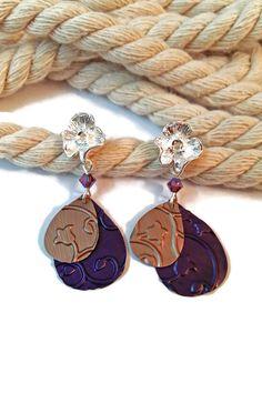 Boucles d'Oreilles Tiges Fleur Aregentée - Breloques Nespresso - Perles Tchèques - Violet Pêche : Boucles d'oreille par cap-and-pap