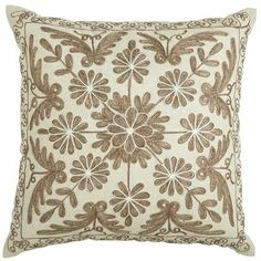 Neutral Embroidered Medallion Pillow from Pier Either in center of couch or in chair Pillow Room, Couch Pillows, Throw Pillows, Handmade Home Decor, Home Decor Items, Living Room Inspiration, Interior Inspiration, Soft Furnishings, House Colors