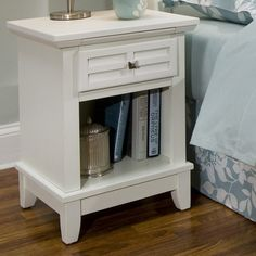 Features:  -Nightstand.  -Embellishes typical mission styling.  -Raised wood, lattice moldings and slightly flared legs.  -Square brushed nickel hardware.  -Ideal piece for any bedroom setting.  -Hard
