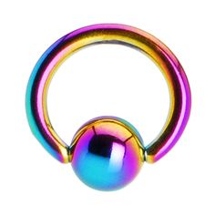 "16 Gauge 1/4"" Rainbow Anodized Titanium Ball Captive Ring 