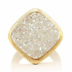 Square White Natural Druzy Quartz Goldtone Brass Bold Fashion Ring - Nickel Free Fashion Right Hand Ring Size 4.5-Mother's Day Gift Jewelry BERRICLE. $54.99