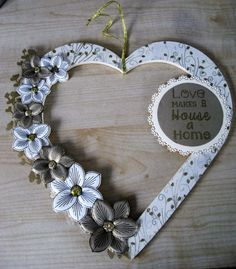 Hand Decorated Mdf Gold Glitter and Cream  'Love makes a House a Home'  Heart Floral Wreath by JustJulesHomeDecor on Etsy