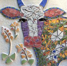 Mosaic wall art/mosaic cow/broken china mosaic framed mosaic