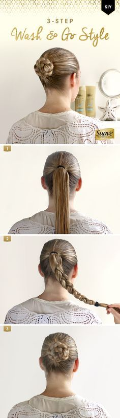Speed up your morning routine with a quick and easy wet-hair tutorial. Style It Yourself in just three steps. Step 1: Start by washing your hair with Suave Professionals Sea Mineral Infusion Moisturizing Body Shampoo and Conditioner for easier styling, then put your hair in a medium ponytail. Step 2: Braid the ponytail and tie it with an elastic hair tie. Step 3: Wrap the braid around the base of the ponytail and secure with bobby pins.