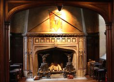 Fireplaces were first used for heating the home and cooking. Now their main purpose is to add the cozy feel, notes mantel expert Greg Ingram of Mantel Market in Atlanta. This is the giant fireplace at Glenridge Hall, an estate in Sandy Springs