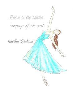 Ballerina in teal watercolor inspirational print girls by Zoia