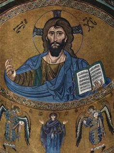"""Byzantine. The Christ Pantocrator Mosaic from Cefalu Cathedral; in his hand Christ holds the Gospel of John in which we can read in Greek and Latin: """"I am the light of the world, who follows me will not wander in the darkness but will have the light of light""""."""